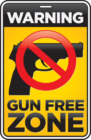 semi automatic: Gun Free Zone street and building sign