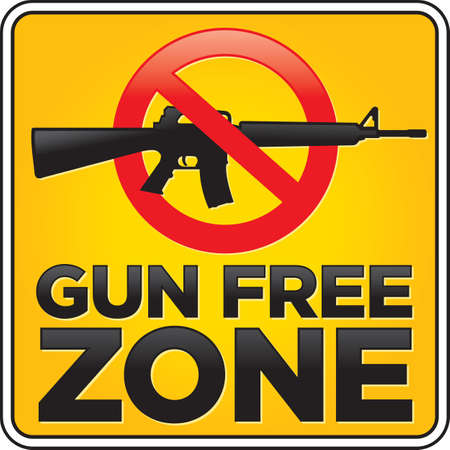 semi automatic: Gun Free Zone assault rifle street and building sign
