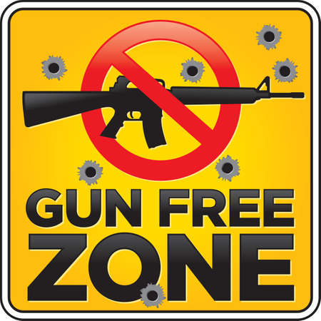 Gun Free Zone assault rifle street and building sign shot full of bullet holes
