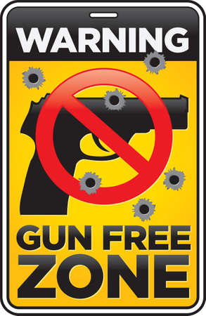 semi automatic: Gun Free Zone street and building sign shot full of bullet holes  Illustration