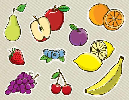 손으로 그린 과일 세트