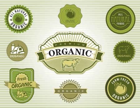 org�nico: Conjunto de etiquetas de los alimentos org�nicos y naturales y las divisas Vectores