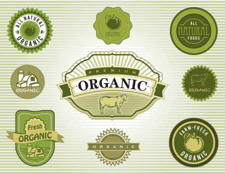 Set of organic and natural food labels and badges Vector