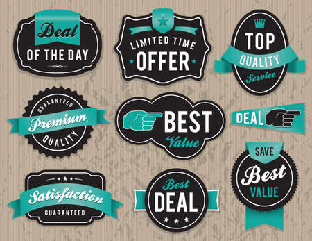 Set of vector retro retail labels and badges