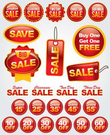 多数販売バッジ小売広告、マーケティング、および販売促進に最適の明るいまた大胆なセット