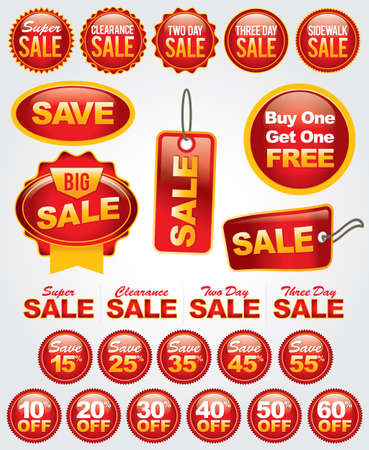 Bright and bold set of numerous sale badges perfect for retail advertising, marketing, and promotion