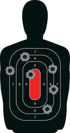Indoor shooting range silhouette paper target shot full of bullet holes  Illustration