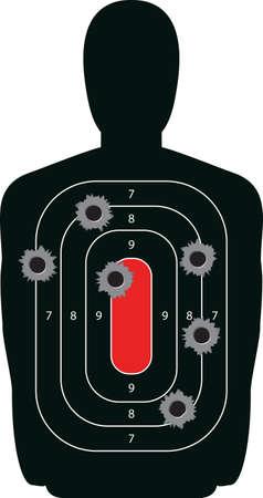 gunman: Indoor shooting range silhouette paper target shot full of bullet holes  Illustration