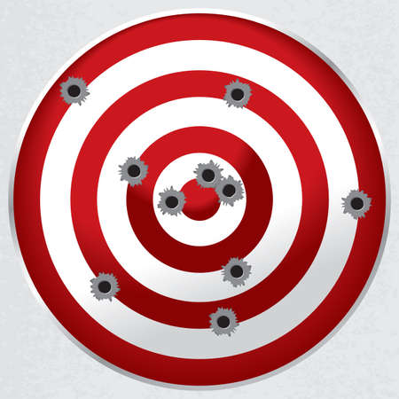 Red and white shooting range target shot full of bullet holes  Illustration