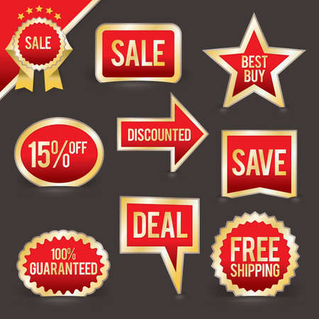 A vector set of retail badges and lebels for sales, promotions, special offers, and more. This file is layered and each badge can easily be separated from the background in the .eps file. Stock Vector - 18005035