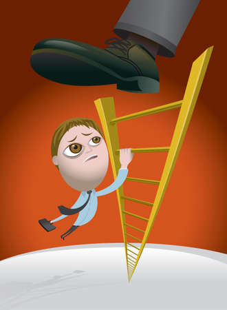 demotion: Business man climbing the corporate ladder and getting kicked back down the rungs by his boss
