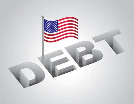 illustration of United States national debt concept
