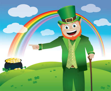 end of rainbow: A leprechaun leading you to his pot of gold at the end of the rainbow