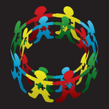 behaviours: Cortar los ni�os mu�eca de papel dando vueltas entre s� con piezas de rompecabezas del autismo simb�licos Vectores