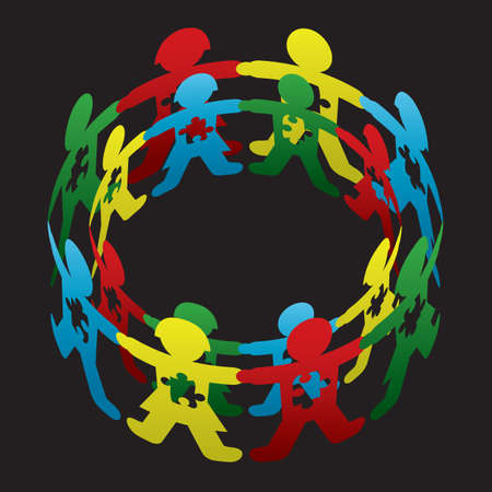 Cut paper doll children circling one another with autism symbolic puzzle pieces