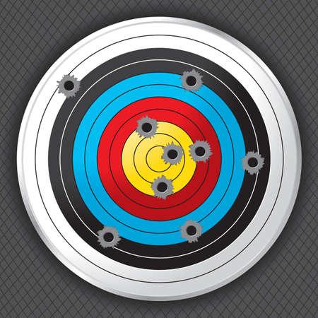 Objetivo Campo de la toma tiro lleno de agujeros de bala agujeros de bala, blanco y el fondo están en capas para facilitar la separación