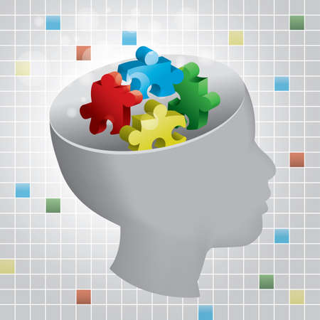 brain puzzle: Profiled head of a child with symbolic autism puzzle pieces