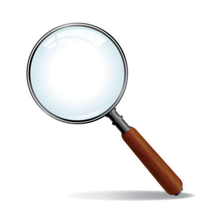 optical glass: A brushed nickle metal magnifying glass with wood grained handle