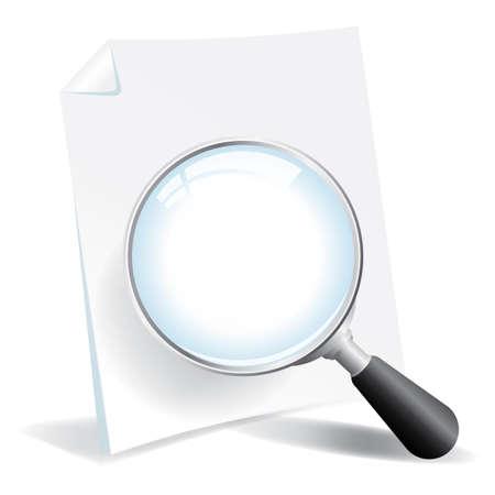 돋보기와 문서 섹터가 일러스트