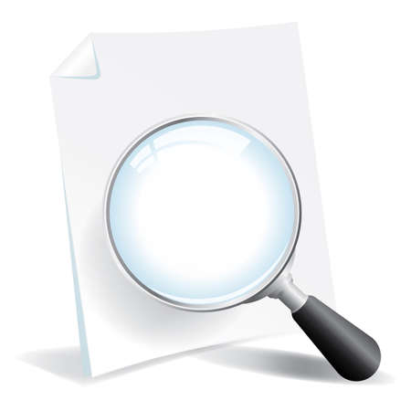 Examing a document with a magnifying glass