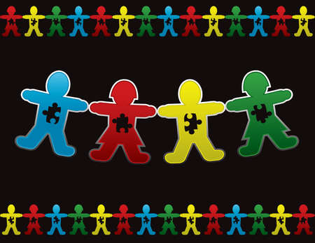 autism: Paper doll children background design with symbolic autism puzzle pieces Illustration