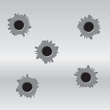 A set of 5 bullet holes on a metal background.