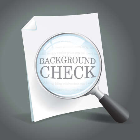 Reviewing a background check report with a magnifying glass Banco de Imagens - 18434059