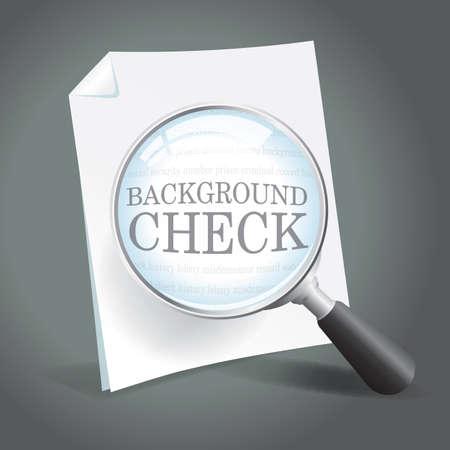 Revisión de un informe de verificación de antecedentes con una lupa Foto de archivo - 18434059
