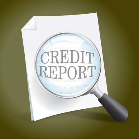 Taking a look at a credit report Vector