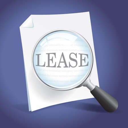 Examining a Lease Agreement with a Magnifying Glass Stock Vector - 18434060