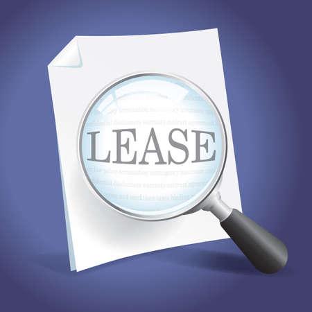 Het onderzoeken van een lease-overeenkomst met een vergrootglas Stockfoto - 18434060