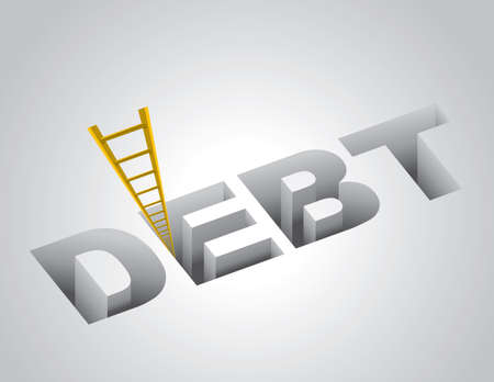 credit card debt: Climbing out of debt concept