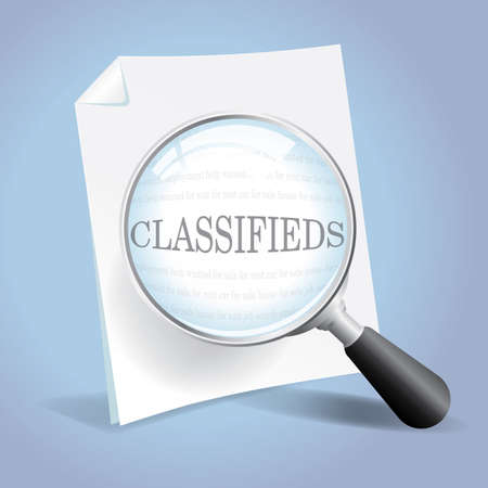 Taking a closer look through the classified ads Stock Illustratie