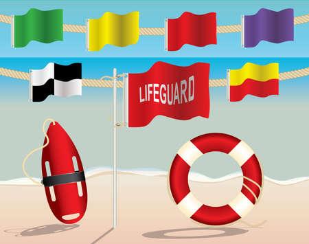 ライフガード安全警告フラグおよび救命装置、ビーチ  イラスト・ベクター素材