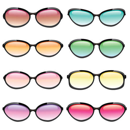 Illustrated set of sunglasses in different fashion styles and lens colors  Stock Vector - 18851294