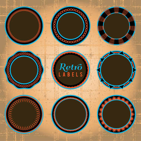 Set of 9 retro labels and badges  Vector Labels use only fill colors, no transparencies, gradients, or overlays  Grunge background uses only radial gradients  All elements grouped and layered for easy separation  Global colors used  Stock Vector - 18851289