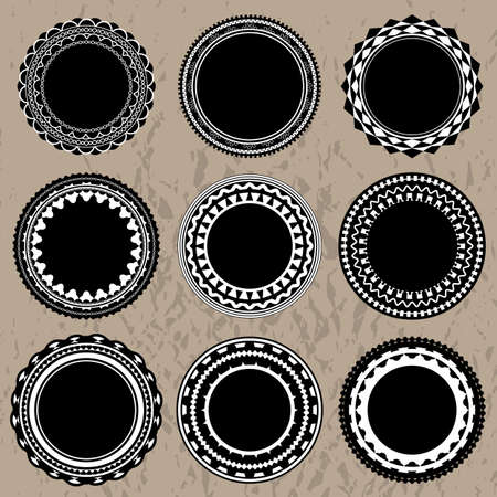 Set of 9 vintage ornate badges and labels  Stock Vector - 19018667