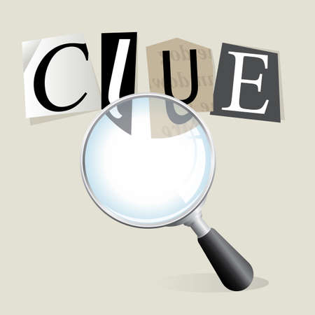crime solving: Finding a ransom note  clue  with a magnifying glass