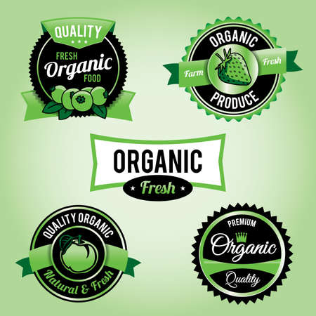Set of organic food labels  Stock Vector - 19587200