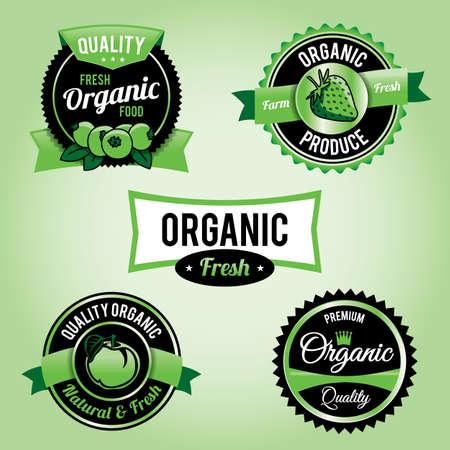 Set of organic food labels Stock Vector - 19587200