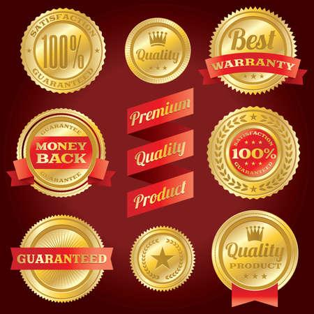 zufriedenheitsgarantie: Set von Vektor-Zufriedenheitsgarantie und Garantie Etiketten und Abzeichen EPS 10