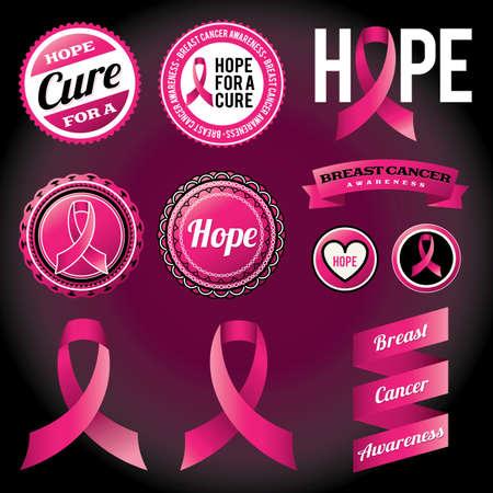 cancer de mama: Cintas de la conciencia del c�ncer de mama e insignias vectoriales EPS 10 archivos disponibles