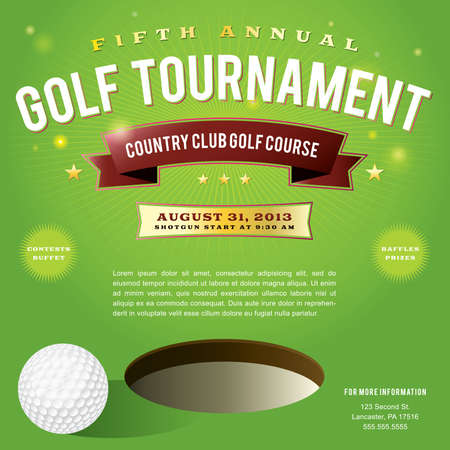 A nice design for a golf tournament invitation.   Vector