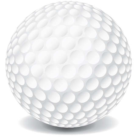A white golf ball isolated on a white background with a dropshadow.