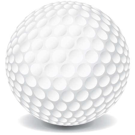 Een witte golfbal geïsoleerd op een witte achtergrond met een slagschaduw. Stock Illustratie