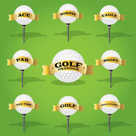 Set of golf design elements with many design uses. Stock Vector - 20864686