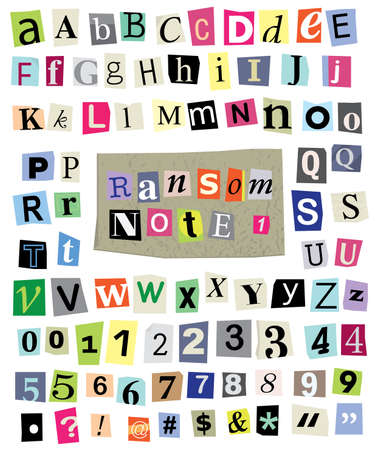 cut newspaper and magazine letters, numbers, and symbols. Mixed upper case and lower case and multiple options for each one.  Vector