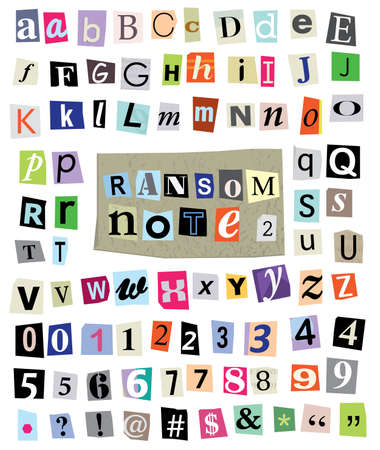 cut newspaper and magazine letters, numbers, and symbols. Mixed upper case and lower case and multiple options for each one.