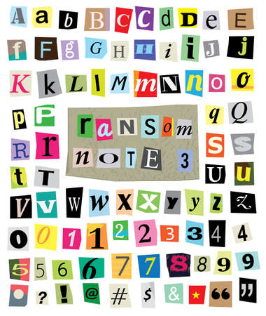 cut newspaper and magazine letters, numbers, and symbols. Mixed upper case and lower case and multiple options for each one. 版權商用圖片 - 20864707