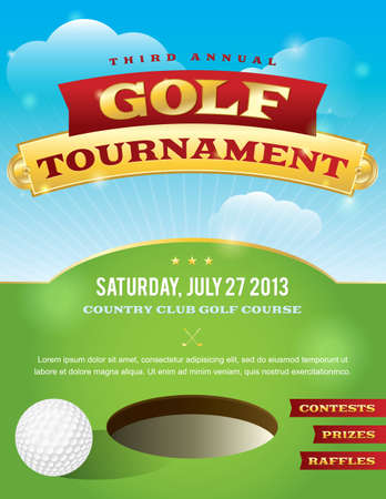competitions: A nice design for a golf tournament invitation. Illustration